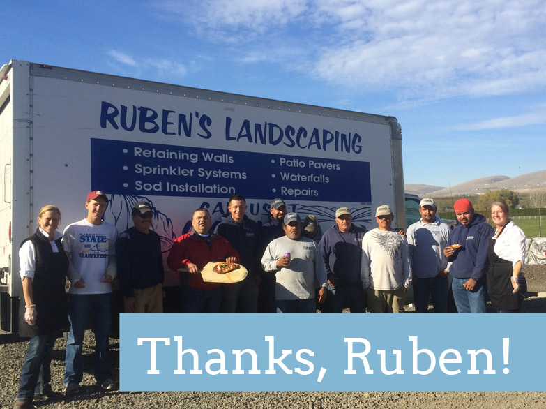 A thank-you shoutout to Ruben's Landscaping