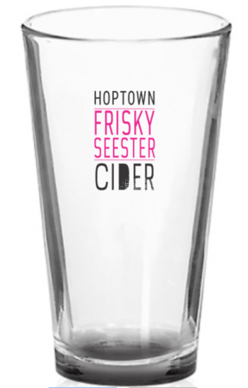 HopTown's Frisky Seester Cider Glass Graphic