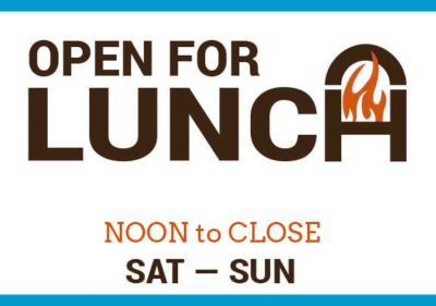 lunch on weekends starting at Noon